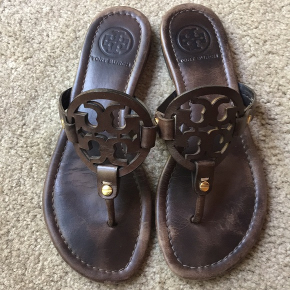 3c54f083d Tory Burch Dark Chocolate Brown Miller Sandals 6.5.  M 5ba3fa761070eef2e75e33f6
